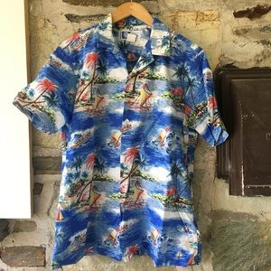 Other - Classic Hawaiian Print Shirt w/ florals & boats